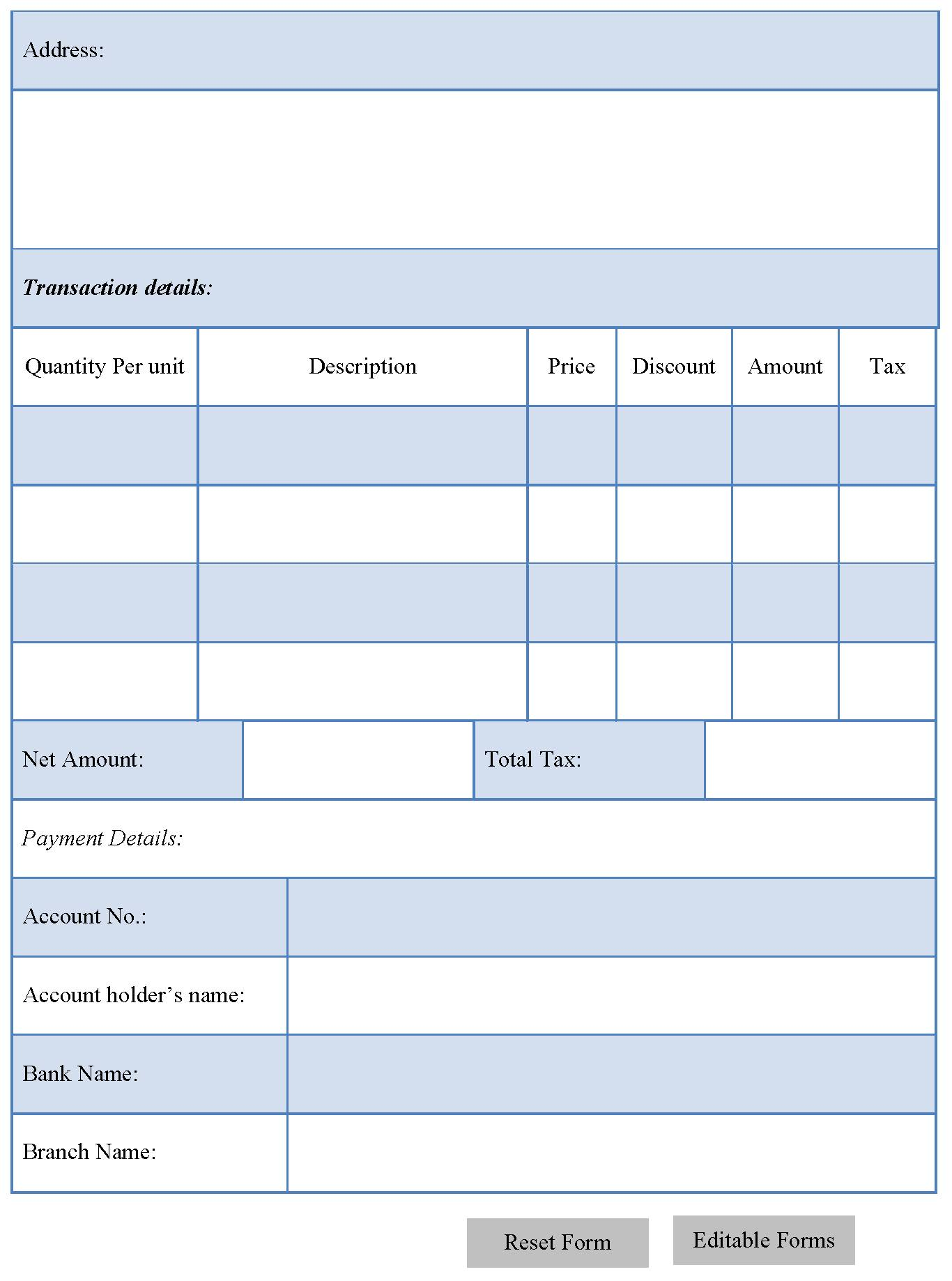 Tax Invoice Template Editable