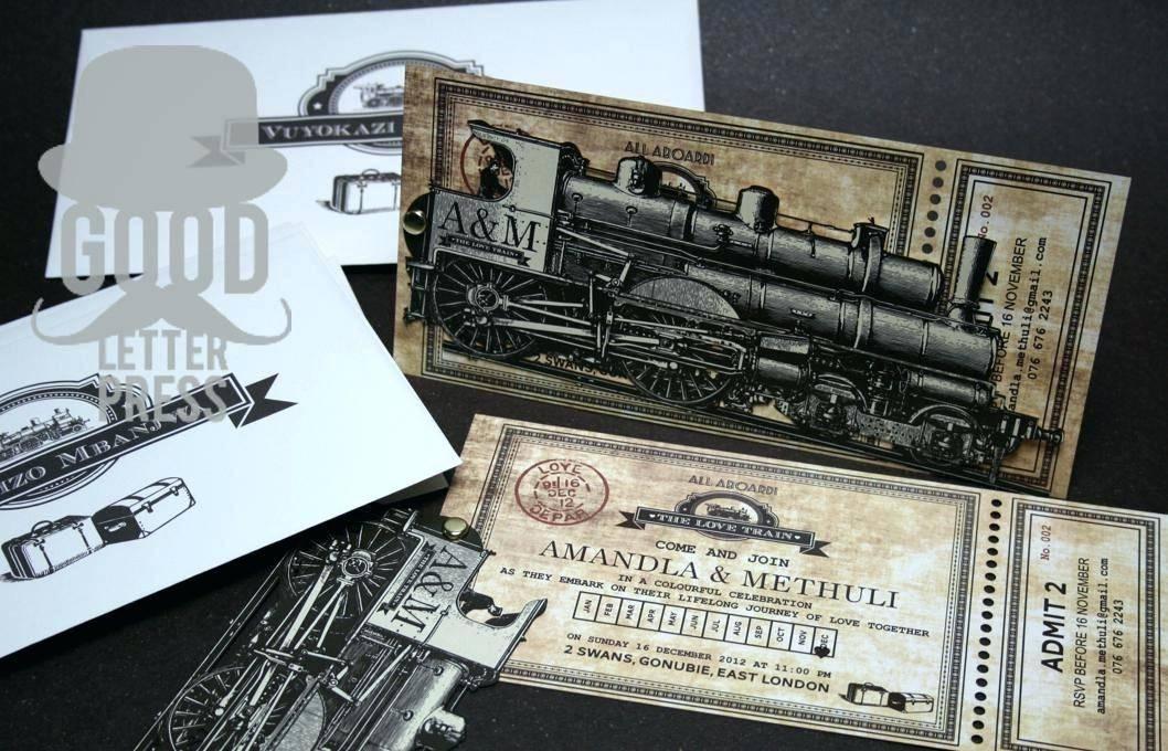 Train Ticket Wedding Invitation Template