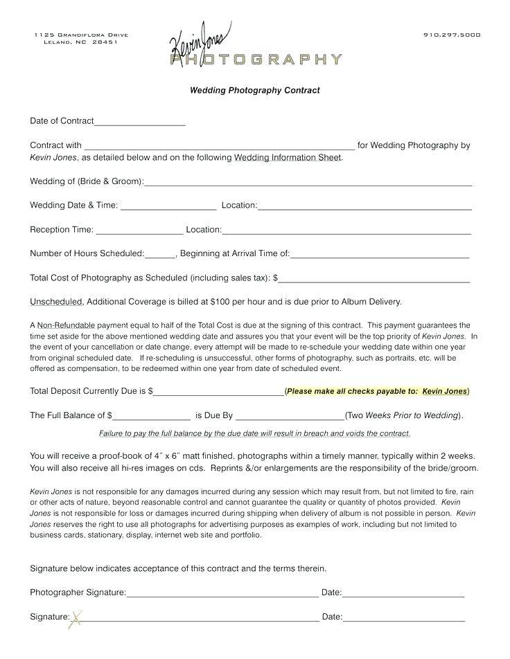 Wedding Photographer Contract Samples