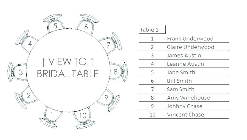 Wedding Top Table Seating Plan Template