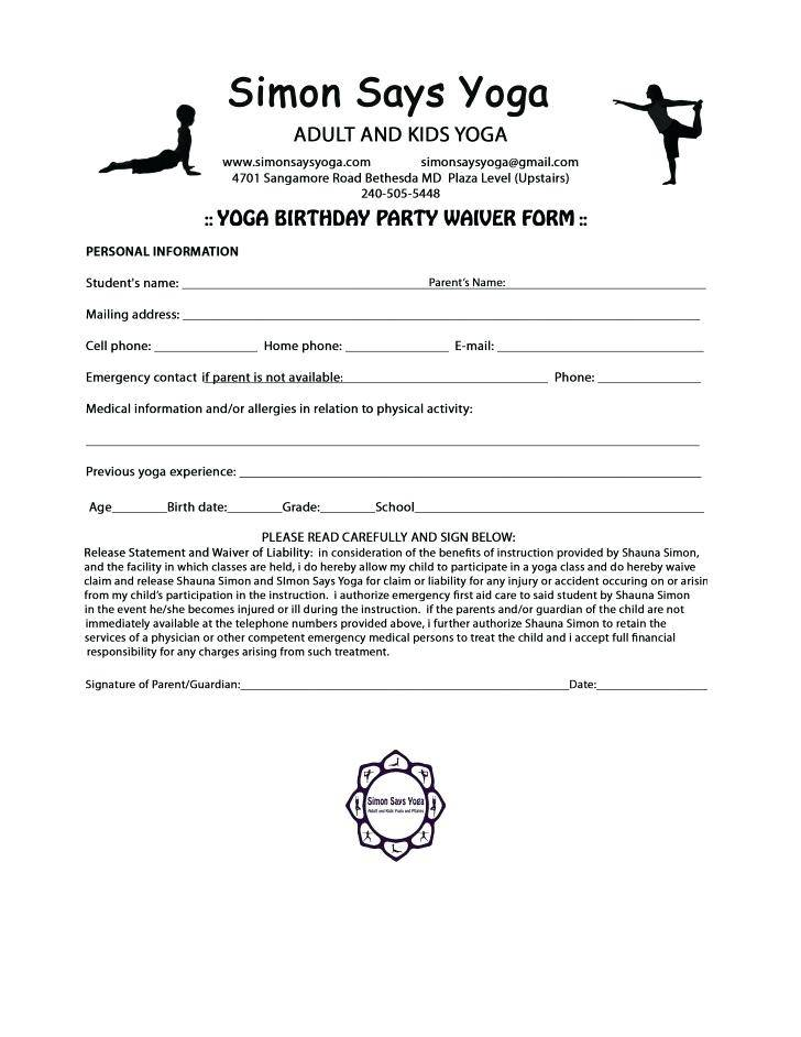 Yoga Liability Release Form Template