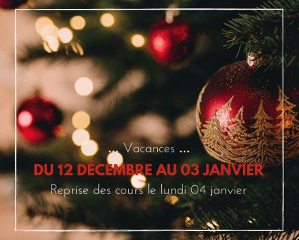 Vacances de Noël 2020