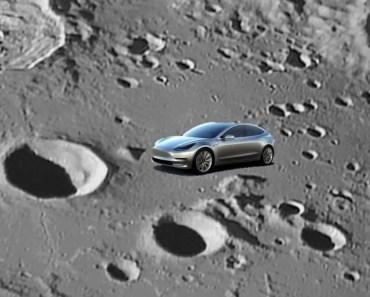 Tesla Model 3 on the Moon