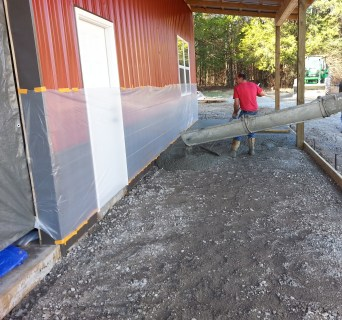 Front slab being poured.
