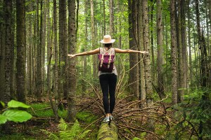 Woman In Forest Nature In Vacation