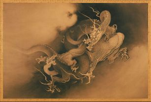 Two Dragons in Clouds by Kanō Hōgai