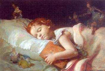 Sweet dreams dreaming of Snow White and the Seven Dwarves, Franz Schrotzberg