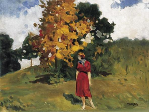 Girl in Red Dress with Autumn Landscape of Nagybánya by János Thorma