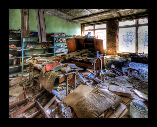 School Library, ghost town of Pripyat near Chernobyl © Mike Suess with CCLicense