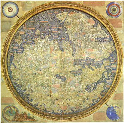 Fra Mauro's World Map, Positioned with south at the top