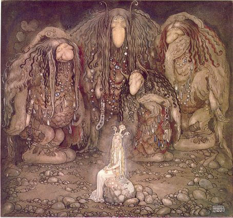 """""""Look at them,"""" troll mother said. """"Look at my sons! You won't find more beautiful trolls on this side of the moon."""" illustration for John Bauer, 1915"""