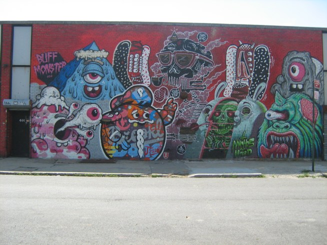 Collaborative work by global artists: Buff Monster (LA/NYC), The Yok (Australia), Tristan Eaton (LA), Sheryo (Singapore/NYC) and Nychos the Weird (Austria).