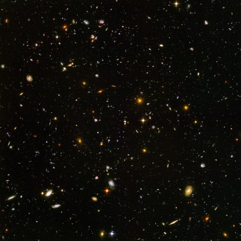 The Hubble Ultra Deep Field, full of thousands of galaxies. This is the deepest visible light image available, looking back billions of light years.