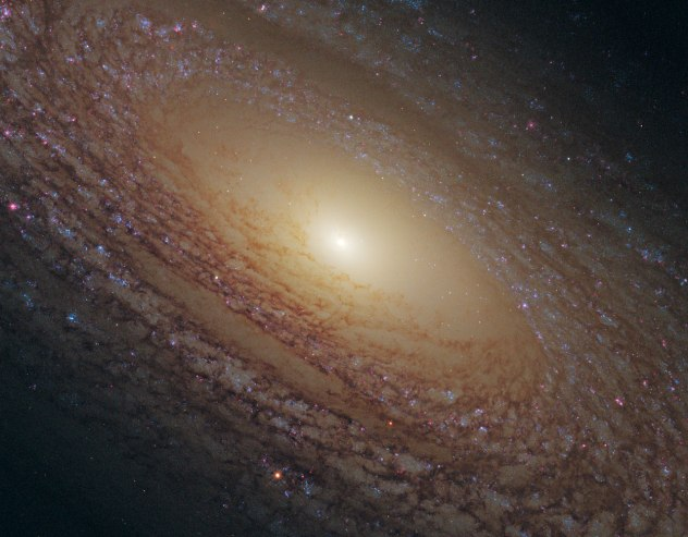 Another spiral galaxy, this one with less defined arms, NGC  2841 is 65 million light years away in Ursa Major.  Credit: NASA, ESA and the Hubble Heritage (STScI/AURA)-ESA/Hubble Collaboration Acknowledgment: M. Crockett and S. Kaviraj (Oxford University, UK), R. O'Connell (University of Virginia), B. Whitmore (STScI) and the WFC3 Scientific Oversight Committee.