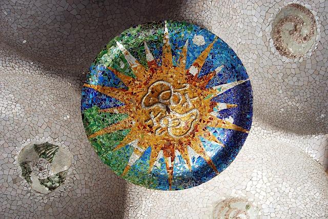 Broken Tile Mosiac from ceiling under terrace, Parc Güell Gardens, Barcelona, by Gaudí