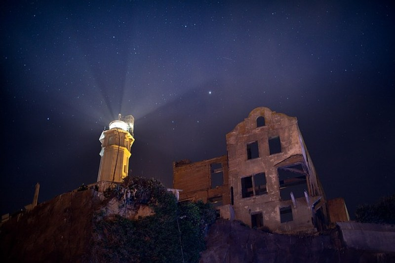 Sky Stars Night Alcatraz Lighthouse Ruins