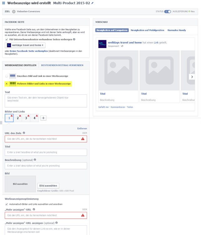 Erstellung von Facebook-Multi-Product Ads im Power Editor.