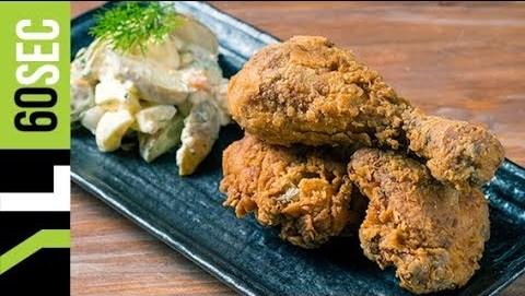 Τηγανητό κοτόπουλο με πατατοσαλάτα   Yiannis Lucacos
