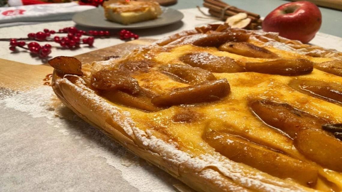 Ανοιχτή πίτα με κρέμα και μήλα Λάμπρος Βακιάρος
