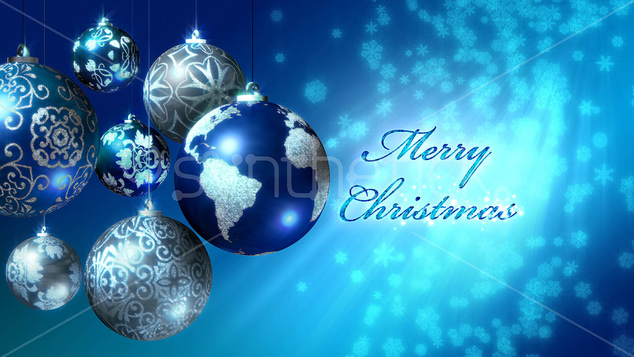 Merry Christmas 5 Languages Blue Stock Video Footage