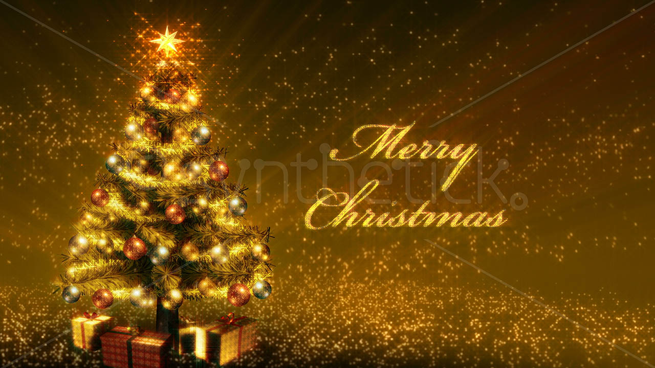 Gold Christmas Tree Growing Stock Video Footage Synthetick