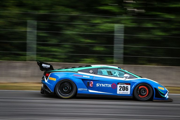 Syntix Superprix in Zolder - Supercar Challenge powered by Pirelli - White and blue Lamborghini Gallardo FL2 GT3 side - Syntix Innovative Lubricants
