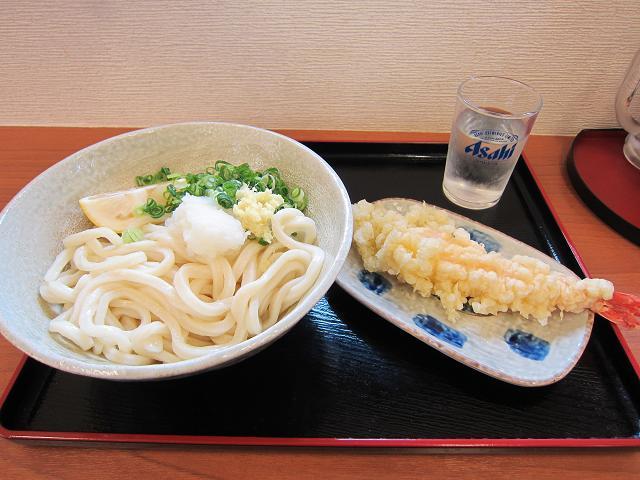 おおつ製麺 しょうゆうどん(大)&エビ天