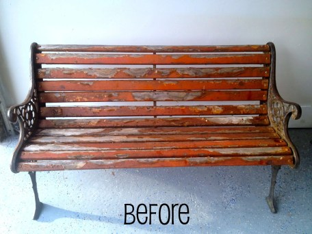 Before: What a bench. This worn out piece will have a new Greek home soon!