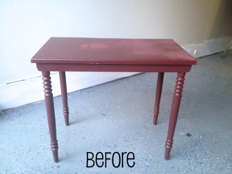 Before: Barney's previous life as a table will be transformed into a cute yet bold side table for a small college room!