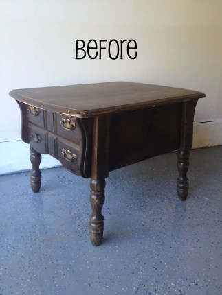 Before: Solid wood old side table turns into a statement coffee table for small spaces!