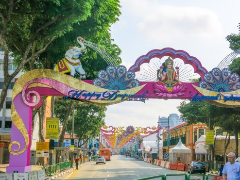 entrance to Little India (special decoration for a religious event)