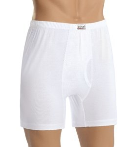 Cotton Boxer shorts with fly, white, 100% Cotton