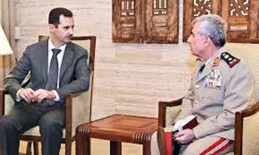 Syrian Arab Army Chief of Staff Ali Abdulla Ayoub with President Bashar Assad