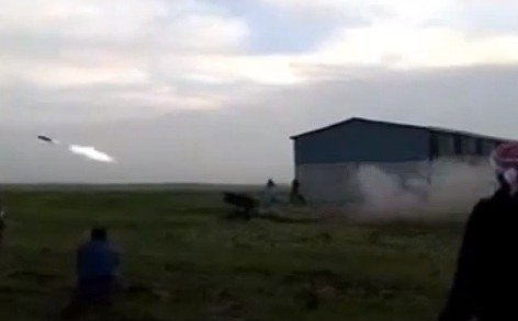 Rocket attack of the rebel on the positions of the 49th Anti-Air Brigade at Deraa, 02 April 2013