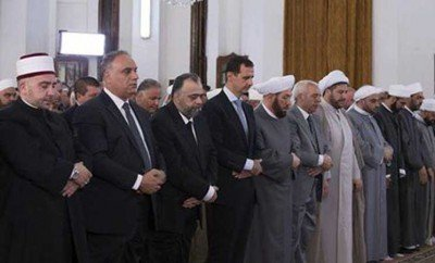 image-Syrian President Dr. Bashar al-Assad Performs Eid al-Fitr Prayers in al-Safa Mosque, Homs