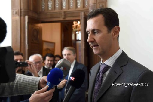 image-Syria President Dr. Bashar al-Assad Talking to French Reporters