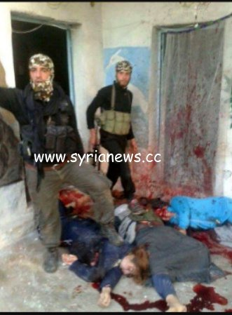 femicide -Murdered Syrian women's bodies stepped on by NATO moderate opposition members.