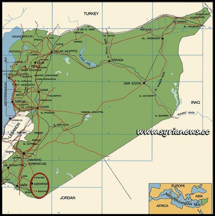 image-Syria Map - Suwayda