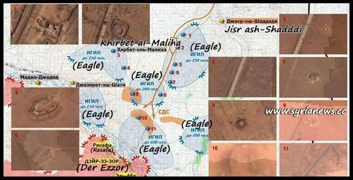 image-Aerial map by Russian MoD Showing SDF, US, and ISIS in collusion in Der Ezzor
