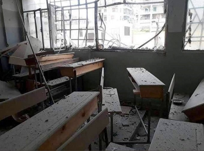 aleppo school bombed