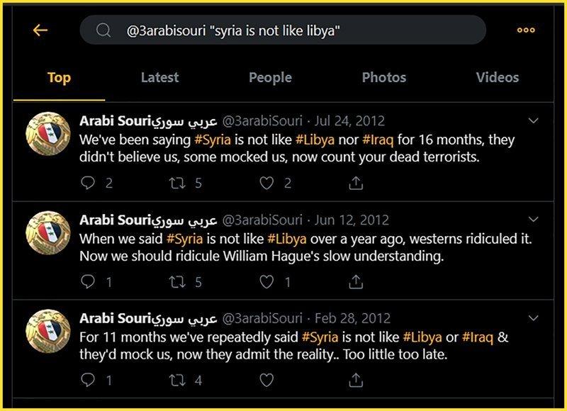 Arabi Souri Tweets: Syria is not like Libya or Iraq