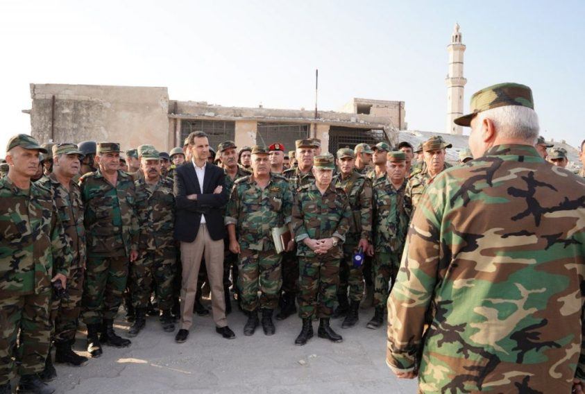 Assad with SAA in Idlib