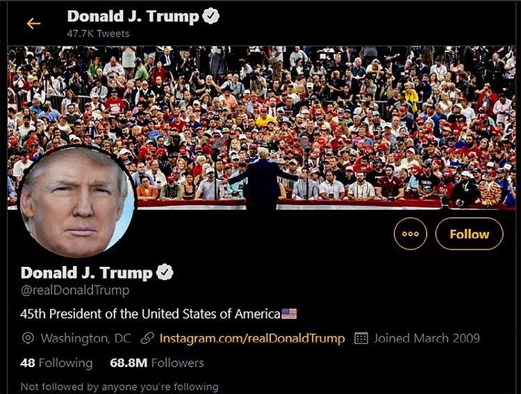 Donald Trump twitter account