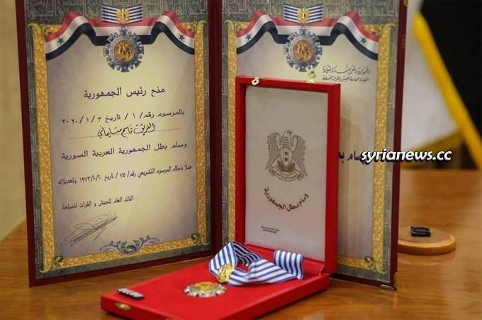 Syria Decorates IRGC Martyr Major General Qasim Soleimani with Order of Hero