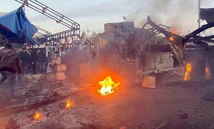 NATO terrorists bomb gas station in A'zaz, Aleppo countryside