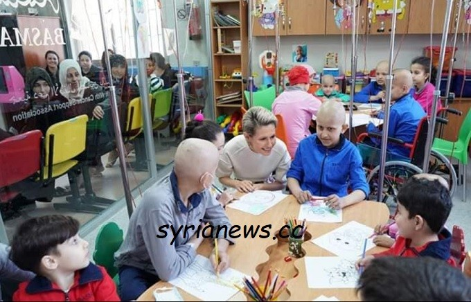 Syria first lady Asmaa Assad visit al-Biruni cancer treatment hospital