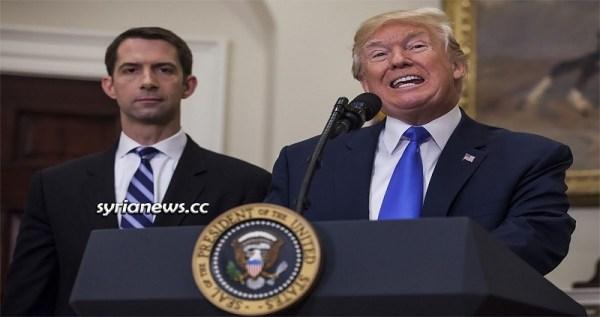 US Senator Tom Cotton and US President Donald Trump - Racist Face of the USA