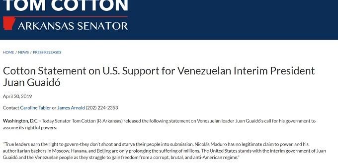 Tom Cotton on Venezuela