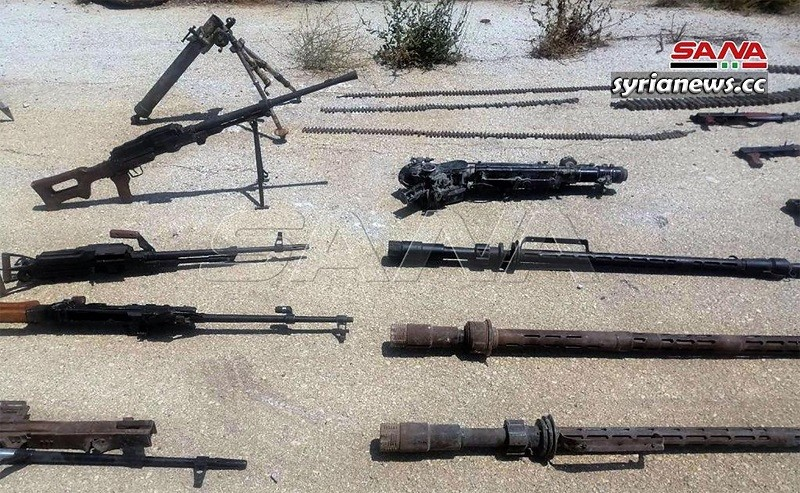 Automatics machine guns and rifles confiscated by the Syrian authorities