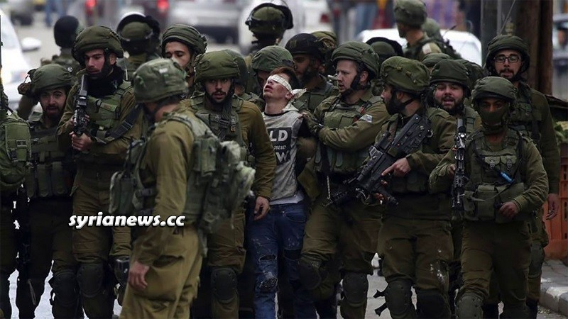 Large herd of heavily armed Israel IDF soldiers kidnap one Pales
